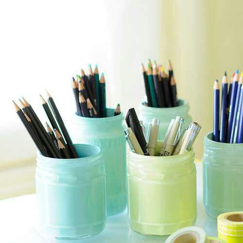 painted jars with pencils